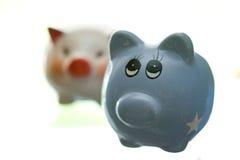 deponować pieniądze ceramicznego prosiątko dwa Obrazy Stock
