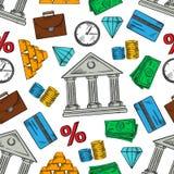 Deponować pieniądze i pieniężny bezszwowy deseniowy tło ilustracja wektor