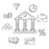 Deponować pieniądze infographic elementy w nakreślenie stylu Zdjęcie Stock
