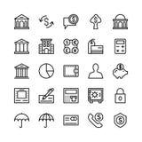Deponować pieniądze i Finansowy konturu Wektorowe ikony 3 Zdjęcie Stock