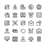 Deponować pieniądze i Finansowy konturu Wektorowe ikony 5 Obraz Stock
