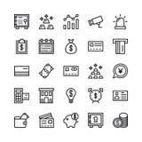 Deponować pieniądze i Finansowy konturu Wektorowe ikony 2 Obrazy Royalty Free