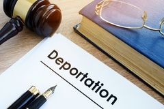 Deportation and other documents. Immigration law. royalty free stock photo