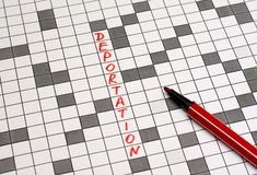 Deportation. Text in crossword. Red letters. Close-up royalty free stock photos