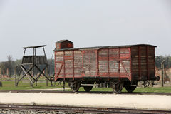 Deportation wagon at Auschwitz Birkenau Stock Image