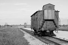 Deportation wagon at Auschwitz Birkenau Stock Photos