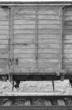 Deportation wagon at Auschwitz Birkenau Stock Photo
