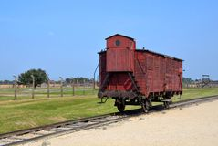 Deportation wagon at Auschwitz II. In Poland royalty free stock image