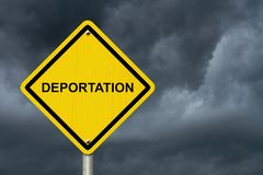Deportation Warning Sign with a stormy sky Stock Photo