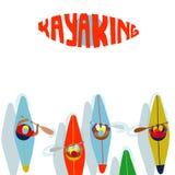 Deporte acuático Kayaking El remar plano del ejemplo de la historieta de primera persona ilustración del vector