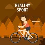 Deporte al aire libre Muchacha que completa un ciclo en la calle Fotos de archivo