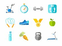 Deporte, aptitud, gimnasio, iconos coloridos Foto de archivo libre de regalías