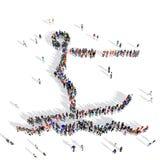 Deporte 3d del esquí acuático de la gente stock de ilustración