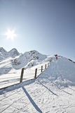 Deporte de invierno en el centro turístico austríaco Montafon Fotografía de archivo libre de regalías