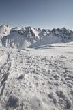 Deporte de invierno en el centro turístico austríaco Montafon Foto de archivo libre de regalías