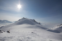 Deporte de invierno en el centro turístico austríaco Montafon Fotografía de archivo