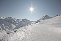 Deporte de invierno en el centro turístico austríaco Montafon Fotos de archivo libres de regalías