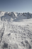 Deporte de invierno en el centro turístico austríaco Montafon Fotos de archivo