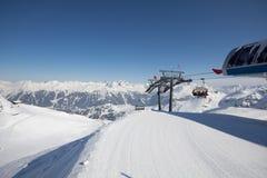 Deporte de invierno en el centro turístico austríaco Montafon Imágenes de archivo libres de regalías