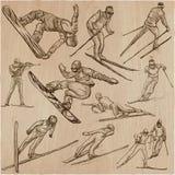 Deporte de invierno Esquí y snowboard Un paquete dibujado mano Fotos de archivo libres de regalías