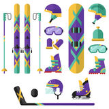 Deporte de invierno - hockey, snowboard, esquí Fotografía de archivo