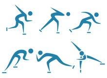 Deporte de invierno - sistemas patinadores de los iconos fijados Fotos de archivo