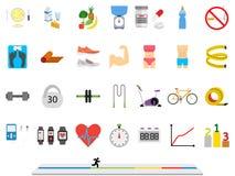 Deporte de la aptitud y diseño plano colorido de la salud Fotos de archivo libres de regalías