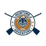 Deporte de la caza o club del cazador, icono del vector del lobo Fotografía de archivo libre de regalías