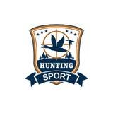 Deporte de la caza o icono del vector del club del cazador Fotografía de archivo