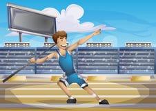 Deporte de la jabalina del vector de la historieta con las capas separadas para el juego y la animación Foto de archivo libre de regalías