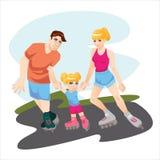 Deporte de los niños con el ejemplo del vector del rollerskating de los padres Imágenes de archivo libres de regalías