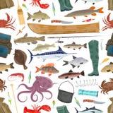 Deporte del pescador del vector y modelo de los pescados de la pesca libre illustration