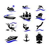 Deporte Deportes de agua Día de fiesta activo por el mar Los iconos fijados Foto de archivo libre de regalías