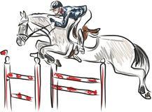 Deporte ecuestre - jinete en caballo en la demostración de salto Fotos de archivo