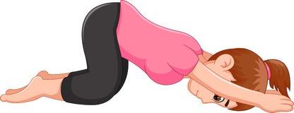 Deporte excercing de la yoga de la historieta dulce de la mujer que pone las manos en el piso