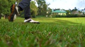 Deporte Jugando a golf, cierre para arriba almacen de metraje de vídeo