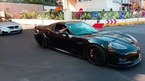 Deporte magnífico negro de Chevrolet Corvette almacen de video