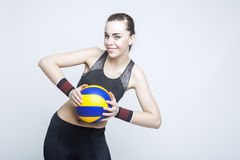 Deporte y conceptos e ideas de la aptitud Jugador de voleibol femenino profesional Imagen de archivo libre de regalías