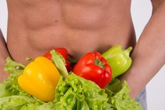 Deporte y dieta Hombre atractivo con el cuerpo muscular foto de archivo libre de regalías