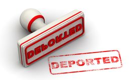 Deported. Seal and imprint. Red seal and red print DEPORTED on white surface. Isolated. 3D Illustration vector illustration