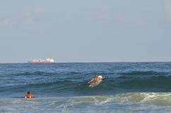 Deportes acuáticos extremos que practican surf Fotografía de archivo