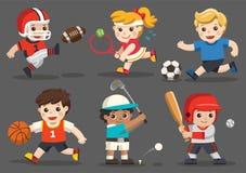 Deportes de equipo para los niños stock de ilustración