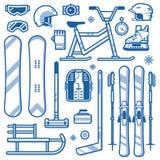 Deportes de invierno e iconos del equipo de las actividades ilustración del vector