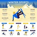 Deportes de invierno Infographics Imagen de archivo