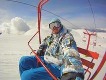 Deportes de invierno - insta del retrato y del teleférico del esquiador Fotografía de archivo libre de regalías