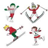 Deportes de invierno, niños que esquían y patinaje de hielo, aislado, ejemplo del vector en el fondo blanco Fotografía de archivo libre de regalías