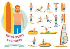 Deportes de la playa del agua del verano, actividades fijadas Sirva el windsurf, practicando surf, esquí acuático del jet, paddle ilustración del vector