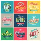 Deportes del verano fijados - etiquetas y emblemas. Fotos de archivo libres de regalías