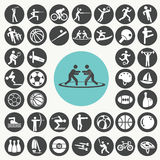 Deportes e iconos de la aptitud fijados imagen de archivo libre de regalías