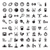 Deportes e iconos de los fitnes fijados Imagen de archivo libre de regalías